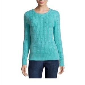NWT Mint Cable Knit Crewneck Sweater